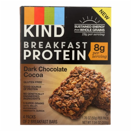 Kind Breakfast Protein Bars - Dark Chocolate Cocoa - Case of 8 - 4/1.76oz Perspective: front