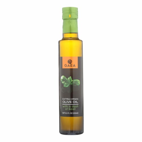 Gaea Extra Virgin Olive Oil - With A Dash of Basil - Case of 8 - 8.5 oz. Perspective: front