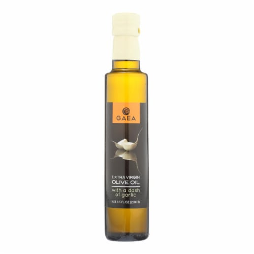 Gaea Extra Virgin Olive Oil - With A Dash of Garlic - Case of 8 - 8.5 oz. Perspective: front