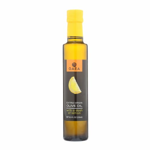 Gaea Extra Virgin Olive Oil - With A Dash of Lemon - Case of 8 - 8.5 oz. Perspective: front
