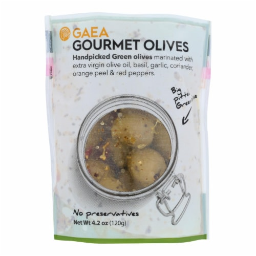 Gaea Green Gourmet Olives  - Case of 8 - 4.2 OZ Perspective: front