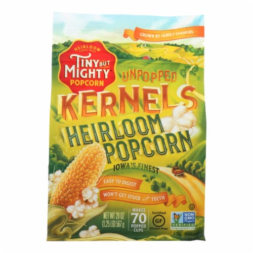 Tiny But Mighty Popcorn Popcorn - Unpopped Kernels - Case of 8 - 20 oz Perspective: front