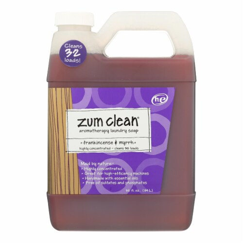 Zum - Clean Laundry Soap - Frankincense and Myrrh - Case of 8 - 32 oz. Perspective: front