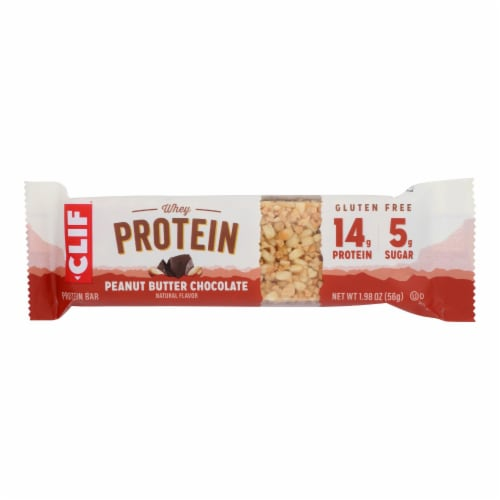 Clif Bar - Whey Protein Bar - Peanut Butter and Chocolate - Case of 8-1.98 oz. Perspective: front