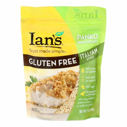 Ians Natural Foods Bread Crumbs - Panko - Italian Style - Gluten Free - 7 oz - case of 8 Perspective: front