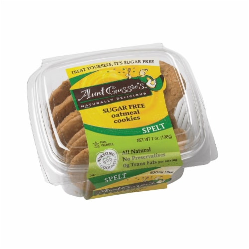 Aunt Gussie's Cookies - Sugar Free Oatmeal - Case of 8 - 7 oz. Perspective: front