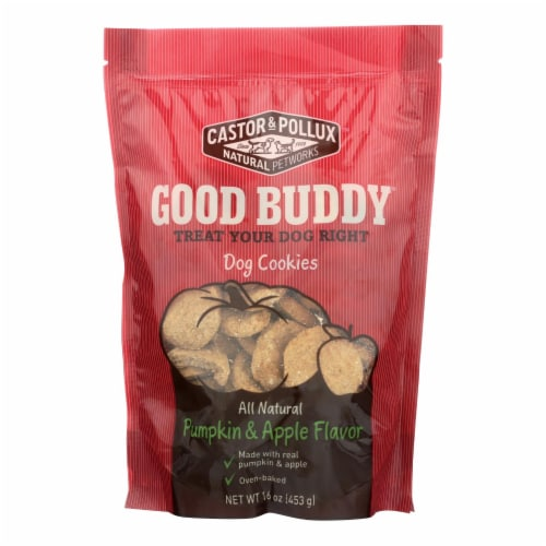 Castor and Pollux Dog Cookies - Pumpkin and Apple - Case of 8 - 16 oz. Perspective: front