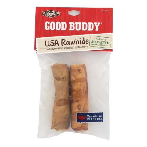 Castor and Pollux Rawhide Curls Dog Chews - Case of 8 Perspective: front