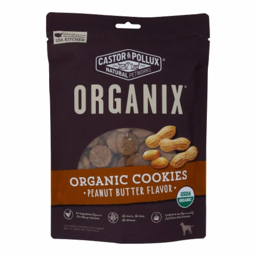 Castor and Pollux Organic Dog Cookies - Peanut Butter - Case of 8 - 12 oz. Perspective: front