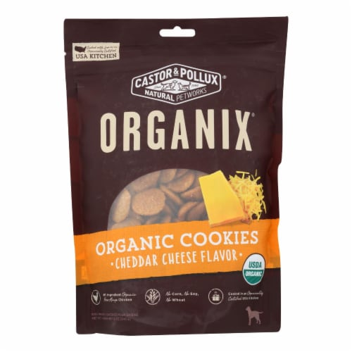 Castor and Pollux Organic Dog Cookies - Cheddar Cheese - Case of 8 - 12 oz. Perspective: front