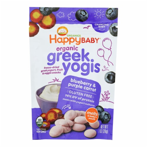 HappyYogis Yogurt-Org-Freeze-Dried-Greek-Babies,Toddlers-Blueberry,Purple Carrot-1oz-8Case Perspective: front