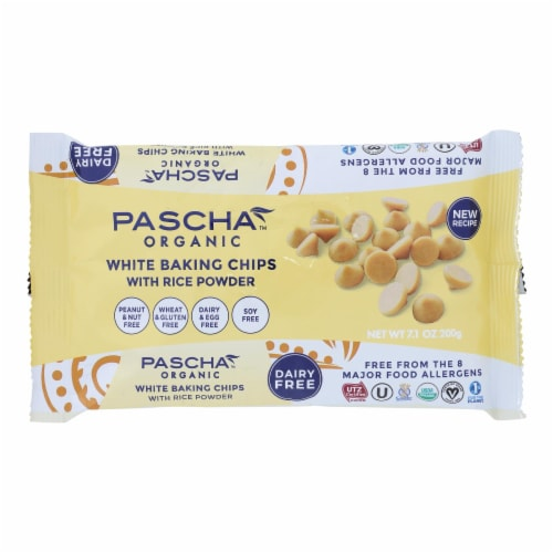 Pascha Organic Rice Milk Chocolate Baking Chips - White Chocolate - Case of 8 - 7 oz Perspective: front