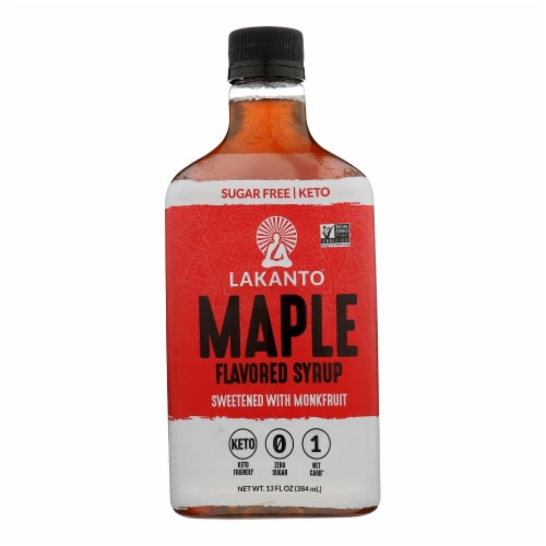 Lakanto Monk Fruit Sweetened Maple Flavored Syrup  - Case of 8 - 13 FZ Perspective: front