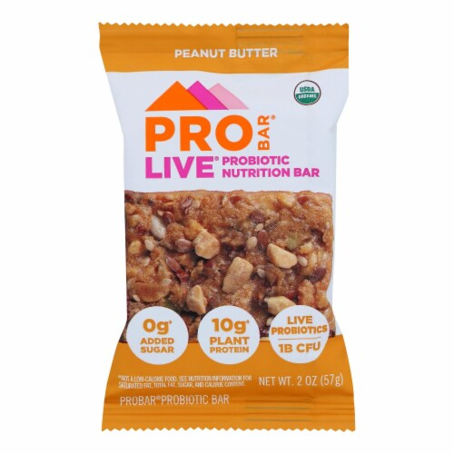 Probar Peanut Butter Live Probiotic Nutrition Bars  - Case of 8 - 2.00 OZ Perspective: front
