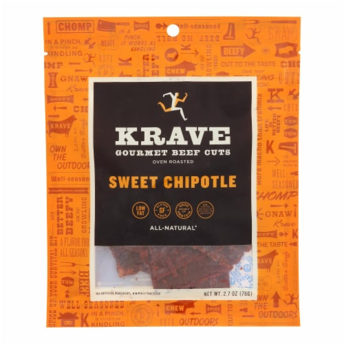 Krave Beef Jerky - Sweet Chipotle - Case of 8 - 2.7 oz. Perspective: front