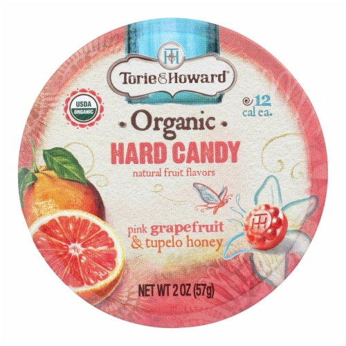 Torie and Howard Organic Hard Candy - Pink Grapefruit and Tupelo Honey - 2 oz - Case of 8 Perspective: front