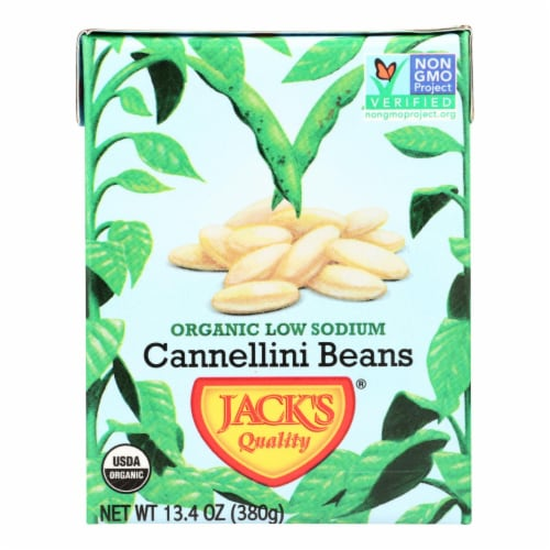 Jack's Quality Organic Cannellini Beans - Low Sodium - Case of 8 - 13.4 oz Perspective: front