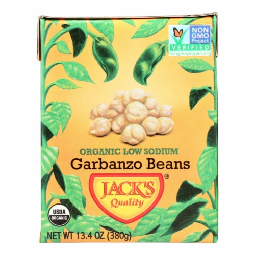 Jack's Quality Organic Garbanzo Beans - Low Sodium - Case of 8 - 13.4 oz Perspective: front