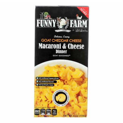 Funny Farm By La Loo's Goat Cheddar Cheese Macaroni & Cheese Dinner  - Case of 8 - 6 OZ Perspective: front