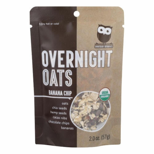 Overnite Organics - Overnight Oats Banana Chips - Case of 8 - 2 OZ Perspective: front
