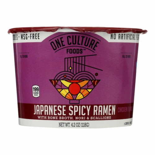 One Culture Foods Chicken Flavor Japanese Spicy Ramen - Case of 8 - 3.7 OZ Perspective: front