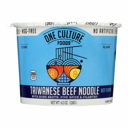 One Culture Foods Taiwanese Beef Noodle Cup  - Case of 8 - 3.73 OZ Perspective: front
