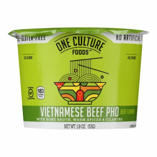 One Culture Foods Vietnamese Beef Pho Noodle Cup - Case of 8 - 1.88 OZ Perspective: front