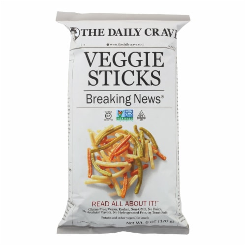 The Daily Crave Veggie Sticks - Potato and Other Vegetable Snack - Case of 8 - 6 oz Perspective: front