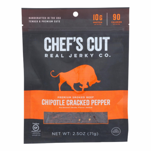 Chef's Cut Real Steak Jerkey - Chipotle Cracked Pepper - Case of 8 Perspective: front