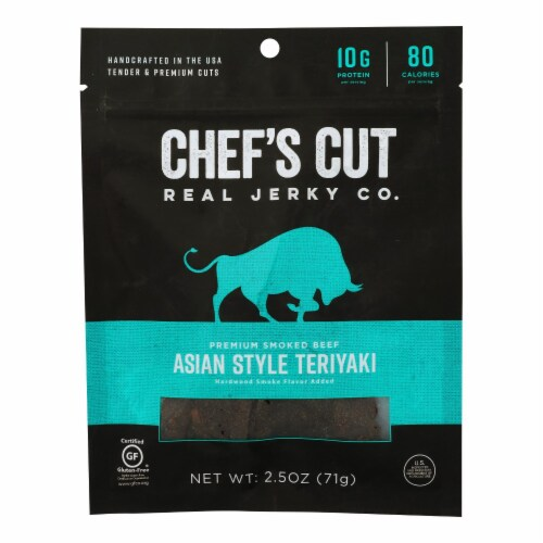 Chef's Cut Real Jerky Co. Handcrafted Teriyaki Flavor Smoked Beef Jerky  - Case of 8 - 2.5 OZ Perspective: front
