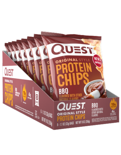 Quest Original Style BBQ Protein Chips Bags Perspective: front