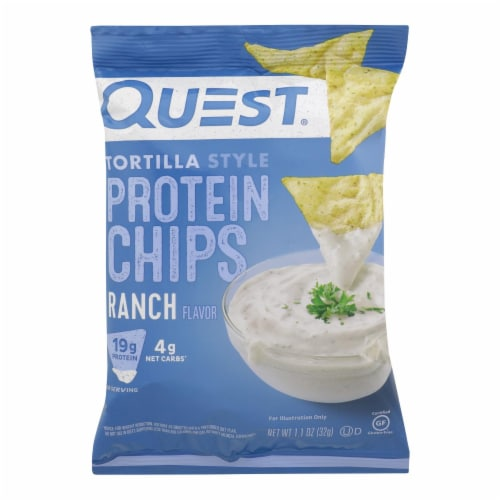 Quest Nutrition Ranch Tortilla Style Protein Chips, Ranch - Case of 8 - 1.1 OZ Perspective: front