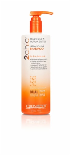 GIOVANNI Ultra Volume Shampoo, 24 oz. Thickens Fine Hair, Tangerine & Papaya Butter Perspective: front