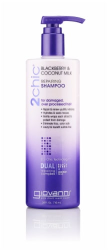 GIOVANNI Repairing Shampoo, 24 oz., Blackberry & Coconut Milk, for Over Processed Hair Perspective: front
