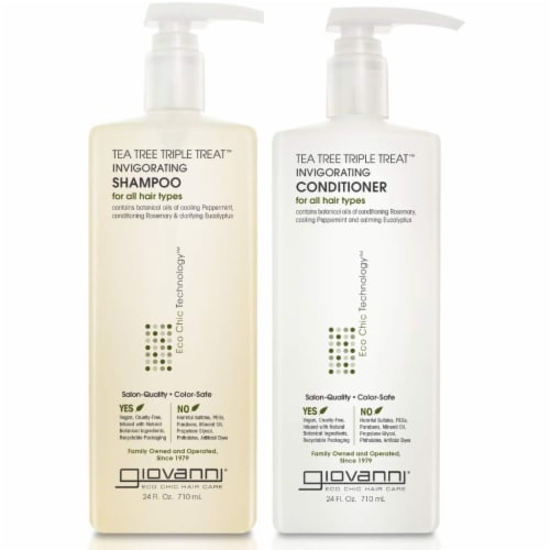 GIOVANNI Tea Tree Triple Treat Invigorating Shampoo & Conditioner Set, 24 oz. Perspective: front