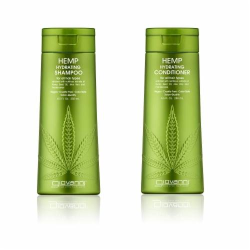 GIOVANNI Hemp Hydrating Shampoo & Conditioner Set, 13.5 oz. Hemp Seed Oil, Aloe Vera Perspective: front