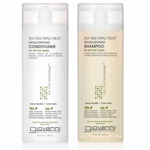 GIOVANNI Tea Tree Triple Treat Invigorating Shampoo & Conditioner Set, 8.5 oz. Perspective: front