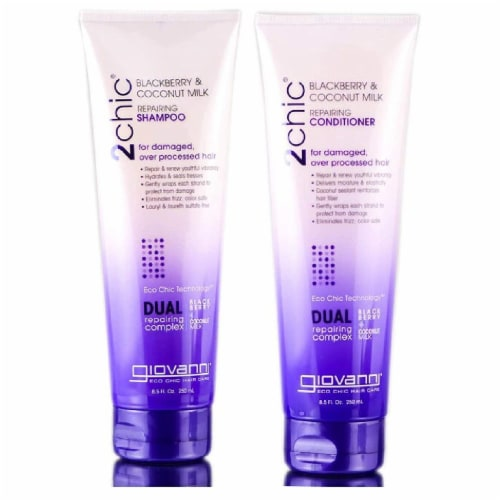GIOVANNI Repairing Shampoo & Conditioner Set, 8.5 oz. Blackberry & Coconut, Shea Butter Perspective: front