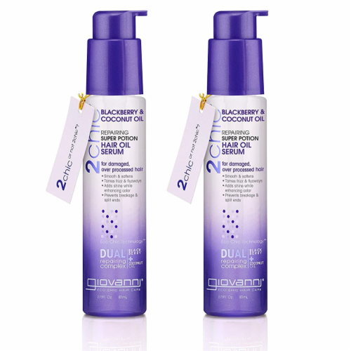 GIOVANNI Repairing Super Potion Hair Serum Oil 2.75oz., Blackberry & Coconut (2 Pack) Perspective: front