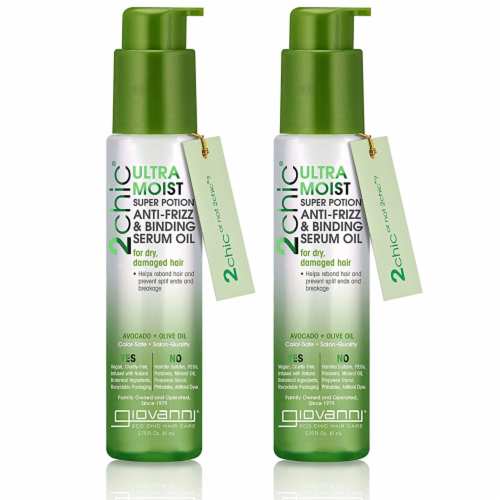 GIOVANNI Ultra Moist Super Potion Serum, 2.75 oz, Avocado & Olive Oil, Anti Frizz (2 Pack) Perspective: front
