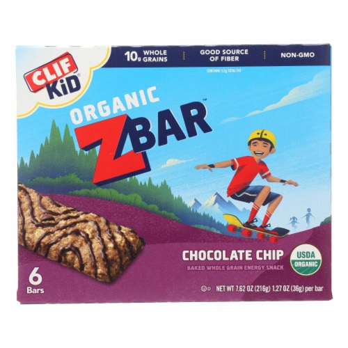 Clif Kid ZBar - Organic ZBar - Chocolate Chip - Case of 9 - 7.62 oz. Perspective: front