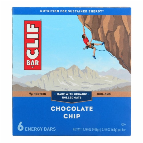 Clif Bar - Energy Bar - Chocolate Chip - Case of 9 - 6/2.4oz. Perspective: front