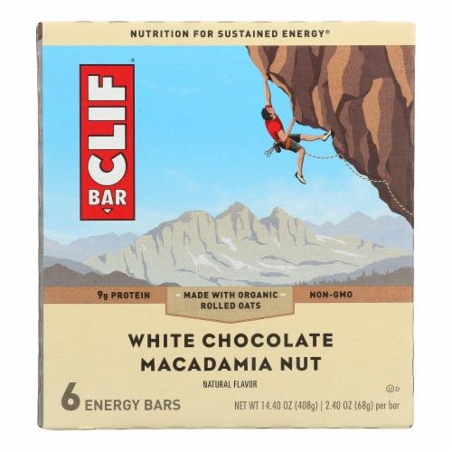 Clif Bar - Energy Bar - White Chocolate Macadamia Nut - Case of 9 - 6/2.4oz. Perspective: front