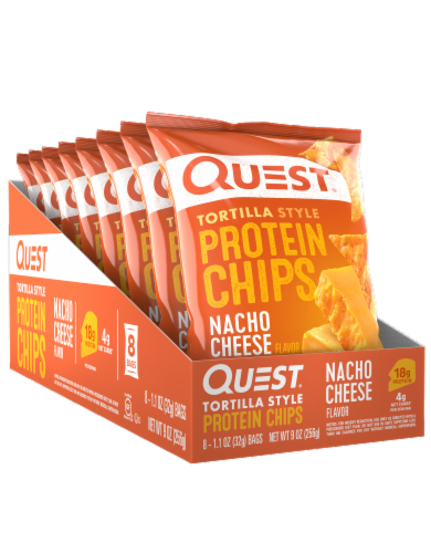 Quest Tortilla Style Nacho Cheese Protein Chips Bags Perspective: front