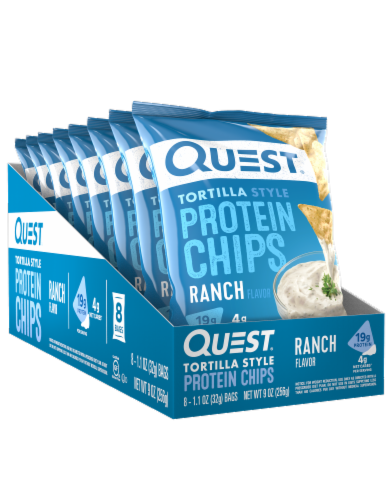 Quest Tortilla Style Ranch Protein Chips Bags Perspective: front