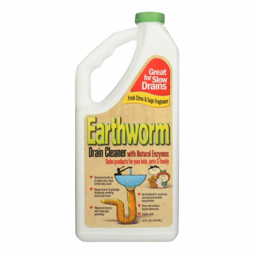Earthworm Drain Cleaner - Case of 6 - 32 FL oz. Perspective: front