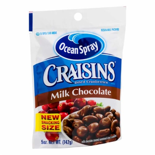 Ocean Spray Craisins Chocolate Covered Dried Cranberries, 5 Ounce -- 12 per case. Perspective: front