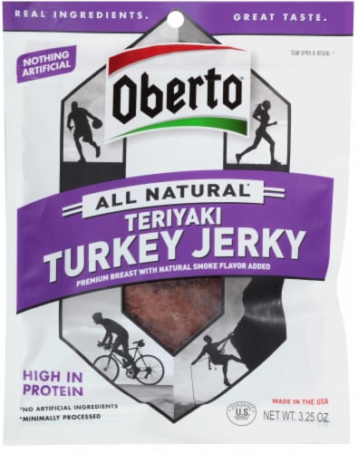 Oberto Natural Style Teriyaki Turkey Beef Jerky, 3.25 Ounce -- 8 per case. Perspective: front