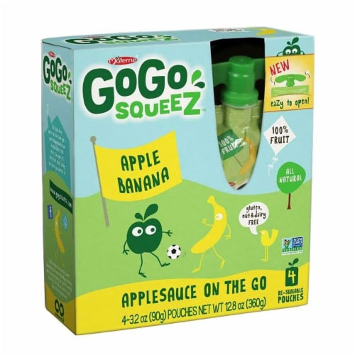 GoGo Squeez Apple Banana On The Go Applesauce, 3.2 Ounce -- 48 per case. Perspective: front