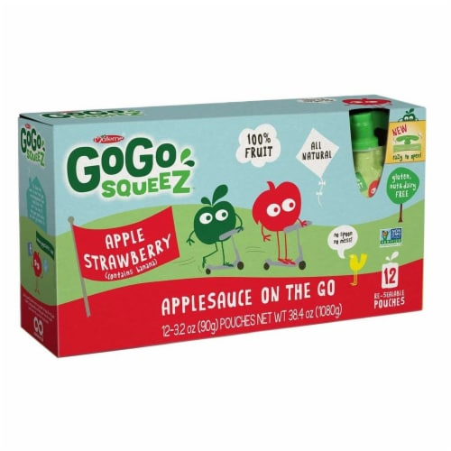 GoGo Squeez Apple Strawberry On The Go Applesauce, 3.2 Ounce -- 72 per case. Perspective: front
